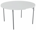 Lifetime Products 80064 Folding Table, White Polyethylene & Steel, 48-In. Round