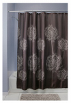 Interdesign 37020 Dandelion Fabric Shower Curtain, Cocoa, Polyester, 72 x 72-In.