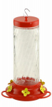 Woodlink NA35227 Bird Feeder, Hummingbird, Clear Swirl Glass, 30-oz.