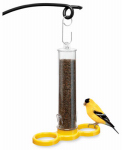 Droll Yankees BL-FIND Finch Bird Feeder, Clear Plastic, 8-In.