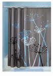 Interdesign 37221 Thistle Fabric Shower Curtain, Gray & Blue Polyester, 72 x 72-In.