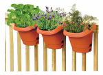 Fiskars Pottery 482121-1001 Hanging Garden System, 3-Planters, Clay