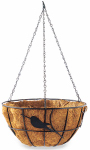 Panacea Products Corp-Import 84252 Hanging Flower Basket, Perching Birds Design, Coco Liner, 7 x 14-In.