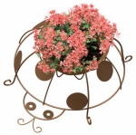 Panacea Products Corp-Import 86654 Planter, Lady Bug, Coco Liner, Rust-Color Steel