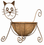 Panacea Products Corp-Import 86655 Planter, Cat, Coco Liner, Rust-Color Steel