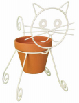 Panacea Products Corp-Import 86665 Plant Stand, Cat, Coco Liner, White Steel