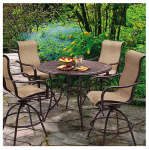 Patio Master S5-BDF02511 Barcelona 5-Pc. Patio High-Dining Set, Table + 4 Swivel Rockers, Steel Frames, Chocolate & Copper
