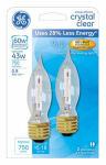G E Lighting 60276 43 watts, Candle Shape, Candle Base, Halogen