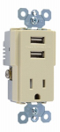Pass & Seymour TM8USBICC6 USB Charger Combo With Tamper-Resistant Receptacle, Ivory, 15-Amp