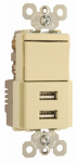 Pass & Seymour TM83USBICC6 Decorator Combination Switch & USB Charger, Ivory