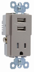 Pass & Seymour TM8USBNICC6 USB Charger Combo With Tamper-Resistant Receptacle, Nickel, 15-Amp