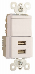 Pass & Seymour TM83USBWCC6 Decorator Combination Switch & USB Charger, White