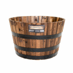 Real Wood Products G3056 Garden Planter, Half Whiskey Barrel, Wood