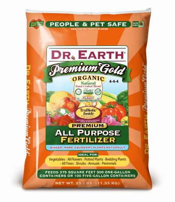 Dr Earth 734 Premium gold All-Purpose Organic Fertilizer, 4-4-4, 25-Lb. Bag