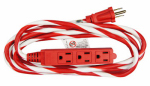 Kab Enterprise KAB2/KAB2F3 Extension Cord, Candy Cane Colors, Indoor/Outdoor, 16/3, 10-Ft.