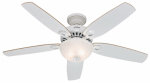 Hunter Fan 53089 Builder Deluxe Ceiling Fan with Light, White, 5 Blades, 52-In.
