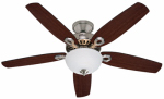 Hunter Fan 53090 Builder Deluxe Ceiling Fan with Light, Brushed Nickel, 5 Blades, 52-In.