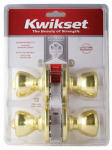 Kwikset 243T 3 CP CODE K2 Security 2-Pack Tylo Entry Lockset, Brass