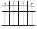 Panacea Products Corp-Import 87103 Garden Fence with Finials, Black Steel, 30 x 37-In.