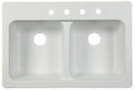 Franke Kitchen Systems FTW904BX Double-Bowl Kitchen Sink, White, 33 x 22 x 9-In.