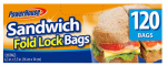 "Personal Care Products 92792-6 120 Count Sandwich Fold Lock Bags (6.3"" x 5.5"")"