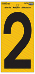 "Hy-Ko Prod RV-75/2 Address Number, Reflective Yellow & Black, 5-In., ""2"""