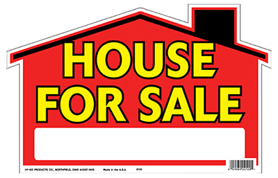 """- Quantity 1 Polyethylene Hy-Ko 22120 /""""House for Sale/"""" Sign 9 x 12-In"""