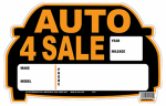 "Hy-Ko Prod 22121 ""Auto for Sale"" Sign, Orange & Black, Polystyrene, 9 x 14-In."