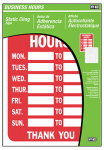 "Hy-Ko Prod KIT-603 ""Business Hours"" Sign, Static Cling, 8.5 x 12-In."