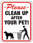 Hy-Ko Prod 20617 8.5x12 Clean Pet Sign