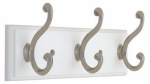 Brainerd Mfg Co/Liberty Hdw 139633 Hook Rail, 3 Scroll Hooks, White & Satin Nickel, 3 x 11.75 x 5.5-In.