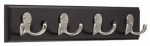 Brainerd Mfg Co/Liberty Hdw 139637 Hook Rail, 4 Double Hooks, Black Wood Grain & Satin Nickel, 2 x 17.75 x 5.5-In.