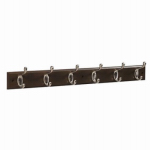 Brainerd Mfg Co/Liberty Hdw 139640 Hook Rail, 6 Scroll Hooks, Black Wood Grain & Satin Nickel, 3 x 28.75 x 5.5-In.