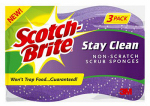 3M 20203-8 Stay-Clean No-Scratch Scrub Sponge, 3-Pk.