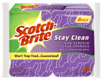 3M 20206-6 Stay-Clean No-Scratch Scrub Sponge, 6-Pk.