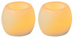 Sterno Home CG24101CR201 Flameless Candle, Mini Wax Hurricane, Cream With Vanilla Scent, 2-Pk.