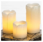 Sterno Home CG19512CR Flameless Candle, Mini Pillar, Cream Wax With Melted Top, 3-Pk.