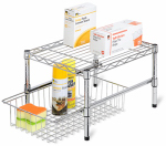 Honey Can Do Intl SHF-03525 Cabinet Organizer, Stacking/Sliding, Chrome