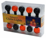 Sienna 126G6H12 Halloween Globe Light Set, Transparent Black/Orange, 10-Ct.