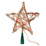 Noma/Inliten-Import V49377-88 Christmas Tree Top Star, Amber Grapevine, 10-Lights