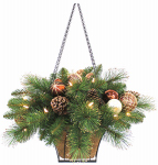 Equinox 2 LCHC-HB-14PW Lighted Artifical Plant Hanging Basket, Must Purchase in Quantities of 2