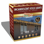 Holiday Bright Lights 105BX-IC-CL Christmas Icicle Light Set, Commercial-Grade, Clear, 105-Ct.