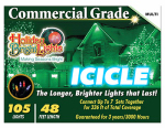 Holiday Bright Lights 105BX-IC-MU Christmas Icicle Light Set, Commercial-Grade, Multi, 105-Ct.