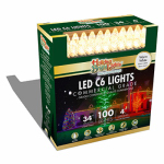 Holiday Bright Lights LEDBX-C6100-WW Christmas LED Light Set, C6, Commercial-Grade, Warm White, 100-Ct.