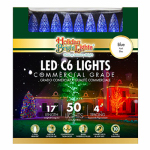 Holiday Bright Lights LEDBX-C650-BL Christmas LED Light Set, C6, Commercial-Grade, Blue, 50-Ct.