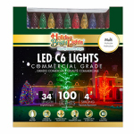 Holiday Bright Lights LEDBX-C6100-MU Christmas LED Light Set, C6, Commercial-Grade, Multi, 100-Ct.