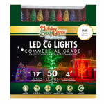 Holiday Bright Lights LEDBX-C650-MU Christmas LED Light Set, C6, Commercial-Grade, Multi, 50-Ct.
