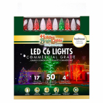 Holiday Bright Lights LEDBX-C650-TR Christmas LED Light Set, C6, Commercial-Grade, Red, Green & White Frost, 50-Ct.