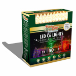 Holiday Bright Lights LEDBX-C650-WW Christmas LED Light Set, C6, Commercial-Grade, Warm White, 50-Ct.