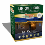 Holiday Bright Lights LEDBX-T570-IC-WW Christmas LED Icicle Light Set, T5, Commercial-Grade, Warm White, 70-Ct.